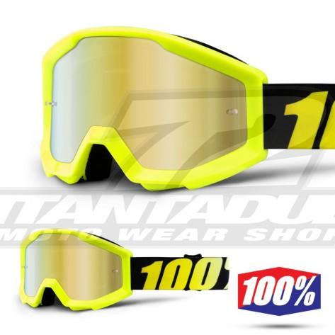 100% Maschera THE STRATA JUNIOR Neon Yellow - Lente Oro Specchio