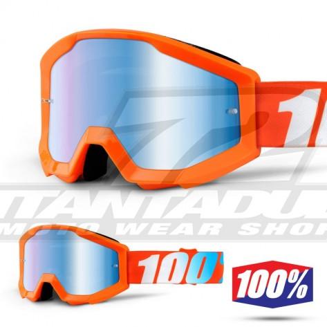 100% Maschera THE STRATA JUNIOR Orange - Lente Blu Specchio