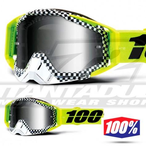 Maschera Cross 100% THE RACECRAFT Andre - Lente Argento Specchio