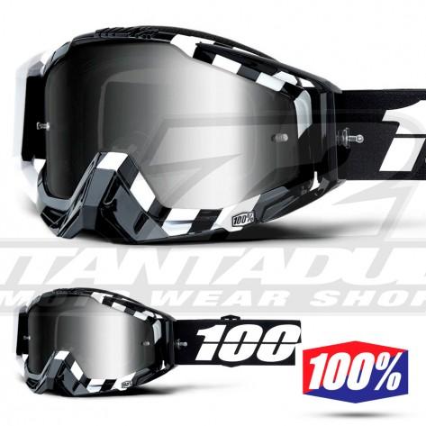 Maschera Cross 100% THE RACECRAFT Alto - Lente Argento Specchio