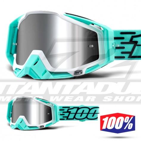 Maschera Cross 100% THE RACECRAFT + Fasto - Lente Iniettata Argento Specchio