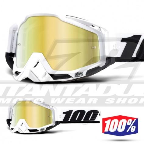 Maschera Cross 100% THE RACECRAFT Stuu - Lente Oro Specchio