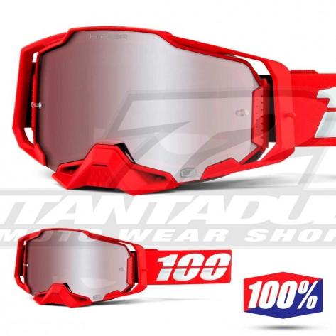 Maschera Cross 100% ARMEGA War Red - Lente HiPER Argento Specchio