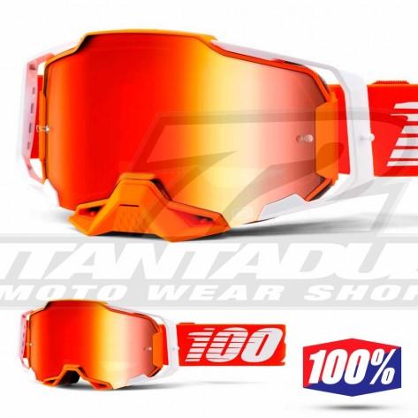 Maschera Cross 100% ARMEGA Regal - Lente Rosso Specchio