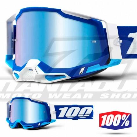 Maschera Cross 100% RACECRAFT2 Blue - Lente Blu Specchio