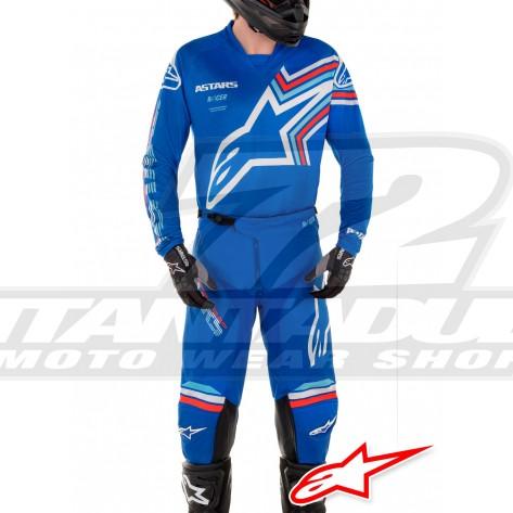 Completo Cross Alpinestars RACER BRAAP - Blu Bianco Sporco