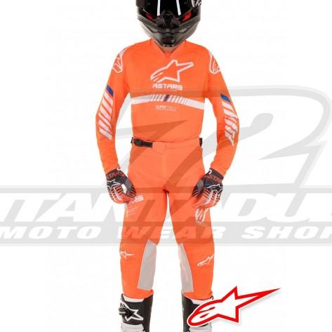 Completo Cross Bambino Alpinestars YOUTH RACER TECH - Arancione Fluo Bianco Blu