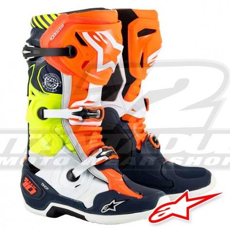 Stivali Cross Alpinestars TECH 10 NATIONS 19 Limited Edition - Blu Scuro Arancione Giallo Fluo
