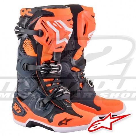 Stivali Cross Alpinestars TECH 10 - Grigio Freddo Arancione Fluo
