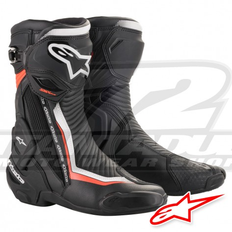 Stivali Alpinestars SMX PLUS V2 - Nero Bianco Rosso Fluo