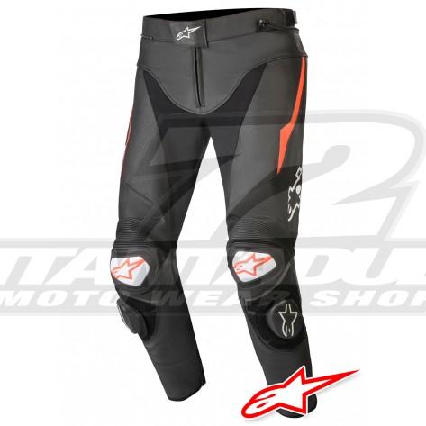 Pantaloni Pelle Alpinestars TRACK V2 - Nero Rosso Fluo