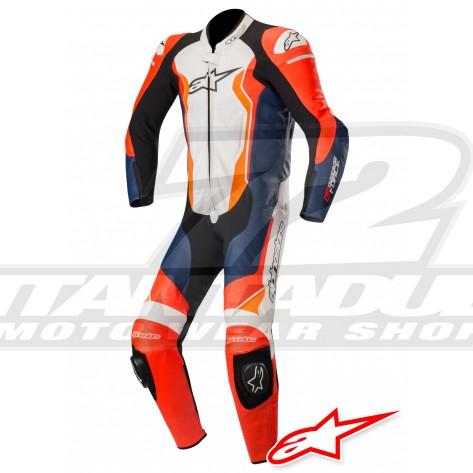 Tuta Racing Alpinestars GP FORCE - Rosso Fluo Nero Bianco Arancione Fluo