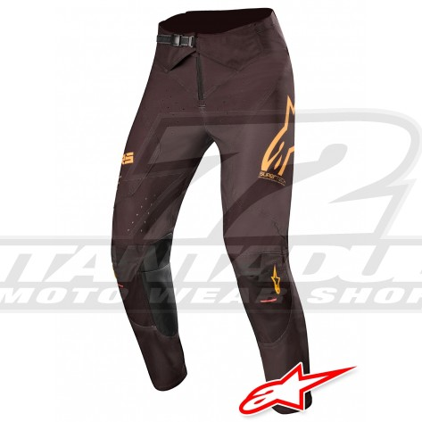 Pantaloni Cross Alpinestars SUPERTECH - Nero Arancione Rosso Fluo