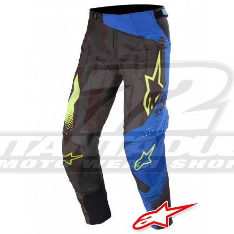 Pantaloni Cross Alpinestars TECHSTAR FACTORY - Nero Blu Scuro Giallo Fluo
