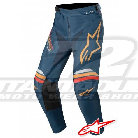 Pantaloni Cross Alpinestars RACER BRAAP - Blu Navy Arancione