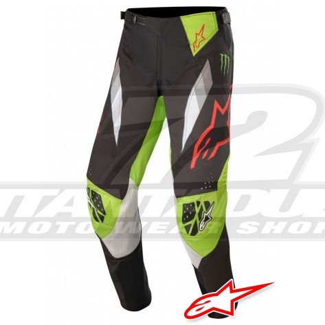 Pantaloni Cross Alpinestars ET MONSTER ENERGY - Nero Antracite Verde Bianco