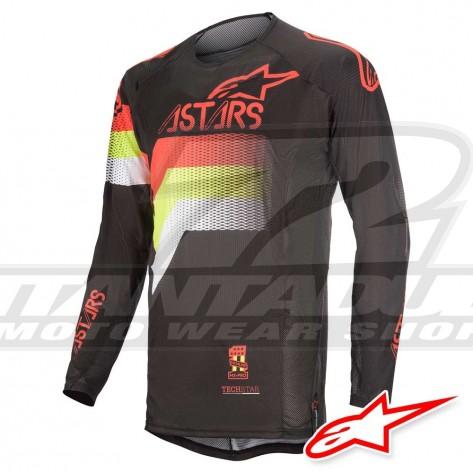 Maglia Cross Alpinestars TECHSTAR VENOM - Nero Rosso Fluo Giallo Fluo