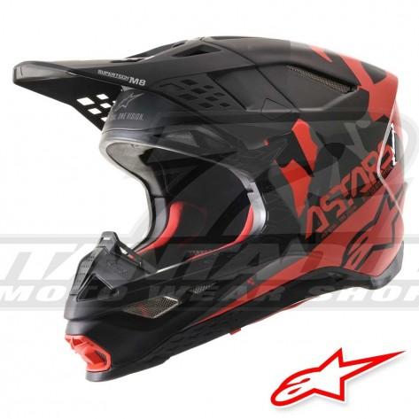 Casco Motocross Alpinestars SUPERTECH S-M8 Echo - Nero Grigio Rosso Fluo
