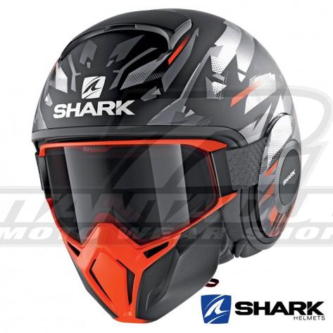 Casco Jet Shark STREET-DRAK Kanhji Mat - Nero Arancione Argento