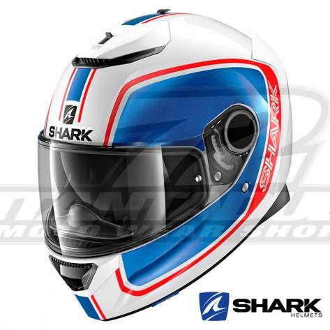 Casco Integrale Shark SPARTAN Priona - Bianco Blu Rosso
