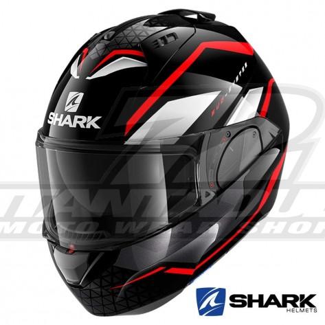 Casco Moto Apribile Shark EVO-ES Yari - Nero Rosso Bianco