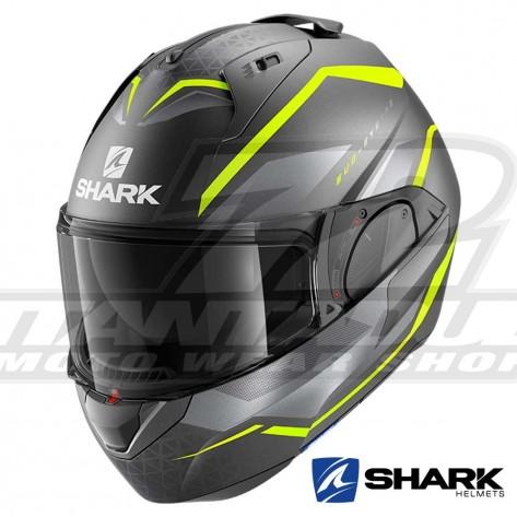 Casco Moto Apribile Shark EVO-ES Yari Mat - Antracite Giallo Argento
