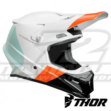 Casco Motocross Thor SECTOR BOMBER - Bianco Rosso Arancione