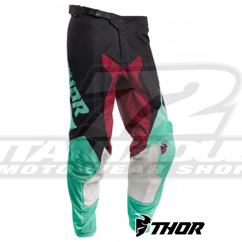 Pantaloni Cross Thor PULSE AIR FACTOR - Nero Verde Menta