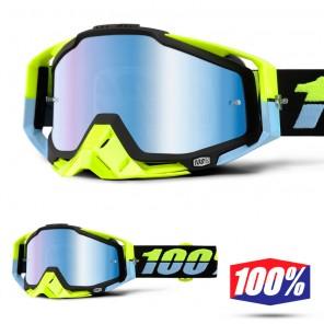100% Maschera THE RACECRAFT Antigua - Lente Blu Specchio