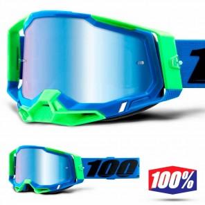 Maschera Cross 100% RACECRAFT2 Fremont - Lente Blu Specchio