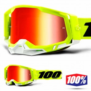 Maschera Cross 100% RACECRAFT2 Fluo Yellow - Lente Rosso Specchio