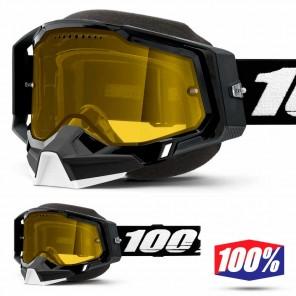Maschera Motoslitta 100% RACECRAFT2 SNOW Black - Lente Dual Vented Giallo