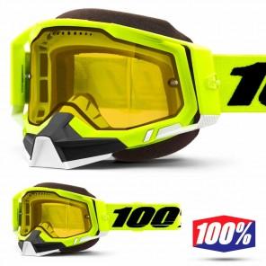 Maschera Motoslitta 100% RACECRAFT2 SNOW Fluo Yellow - Lente Dual Vented Giallo
