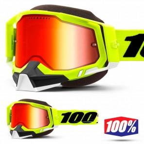 Maschera Motoslitta 100% RACECRAFT2 SNOW Fluo Yellow - Lente Dual Vented Rosso Specchio