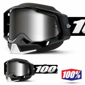 Maschera Motoslitta 100% RACECRAFT2 SNOW Black - Lente Dual Vented Argento Specchio
