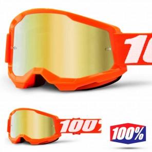 Maschera Cross 100% STRATA2 Orange - Lente Oro Specchio