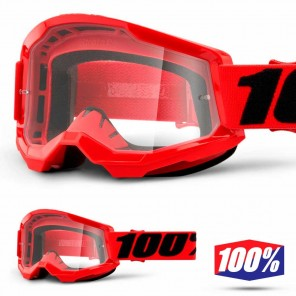Maschera Cross 100% STRATA2 YOUTH Red - Lente Trasparente