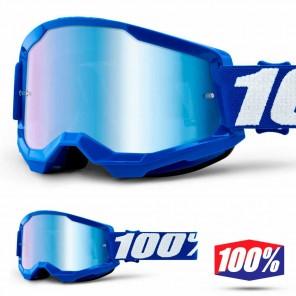 Maschera Cross 100% STRATA2 YOUTH Blue - Lente Blu Specchio