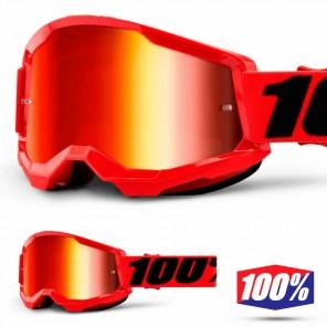Maschera Cross 100% STRATA2 YOUTH Red - Lente Rosso Specchio