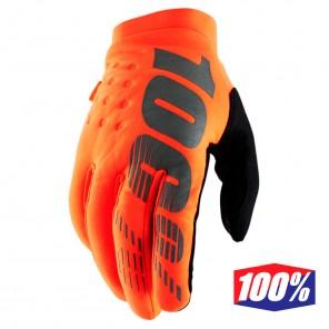 Guanti Cross 100% BRISKER - Arancione Fluo Nero