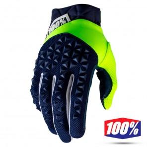 Guanti Motocross 100% AIRMATIC - Blu Navy Giallo Fluo