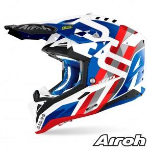 Casco Motocross Airoh AVIATOR 3 Rainbow - Blu Rosso