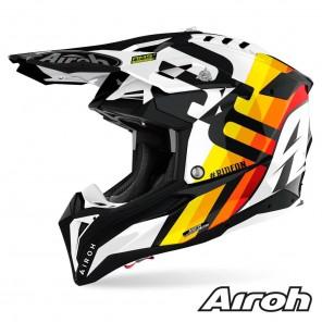 Casco Motocross Airoh AVIATOR 3 Rainbow - Bianco