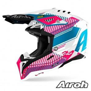 Casco Motocross Airoh AVIATOR 3 Wave - Rosa Cromo