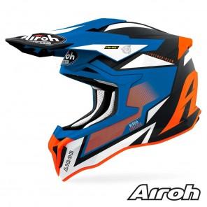 Casco Motocross Airoh STRYCKER Axe - Arancione Blu Opaco
