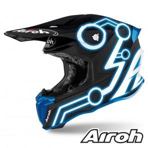 Casco Motocross Airoh TWIN 2.0 Neon - Blu Opaco