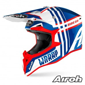 Casco Motocross Airoh WRAAP YOUTH Broken - Blu Rosso