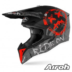 Casco Motocross Airoh WRAAP YOUTH Smile - Rosso Opaco