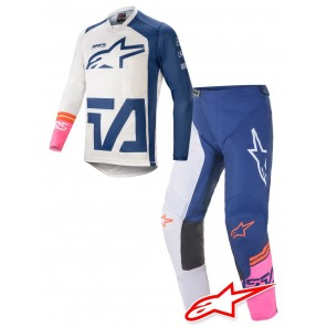 Completo Cross Alpinestars RACER COMPASS - Bianco Sporco Navy Rosa Fluo