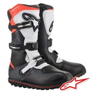 Stivali Trial Alpinestars TECH T - Nero Grigio Rosso Fluo